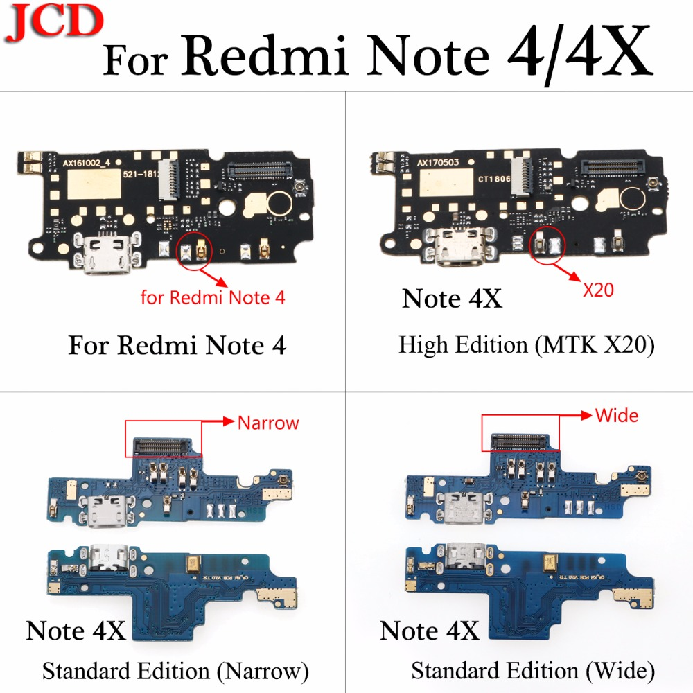 JCD Micro Charger USB Jack Board For Xiaomi Redmi Note 4x X20 Charging Connector For Xiaomi Note 4 USB Charger With Microphone