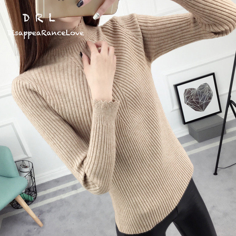 Pullover sweater female short design autumn and winter 2018 womens ruffle slim long-sleeve basic shirt sweater thickening