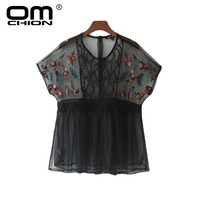 OMCHION Blusa New 2017 Summer Sexy Tops Transparent Floral Embroidery Blouse Women V Neck Short Sleeve