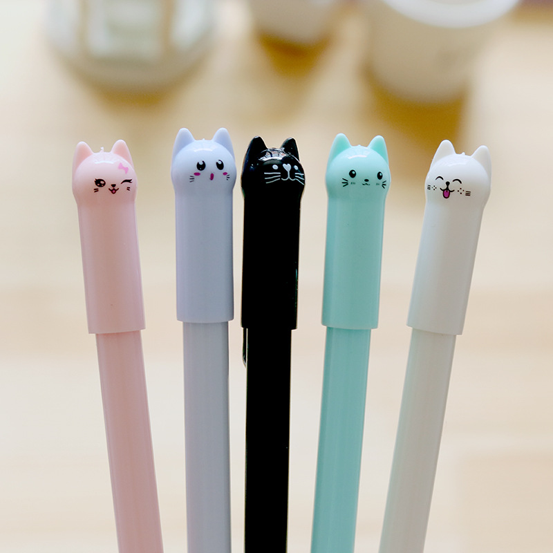 Cute Kawaii Kitten Gel Pens Creative Black Ink Pen Kids Student Gift School Stationery Office Supplies Writing tool Neutral pen kawaii cartoon cat erasable pen cute dog gel pens for kids writing gift office school supplies free shipping 3931
