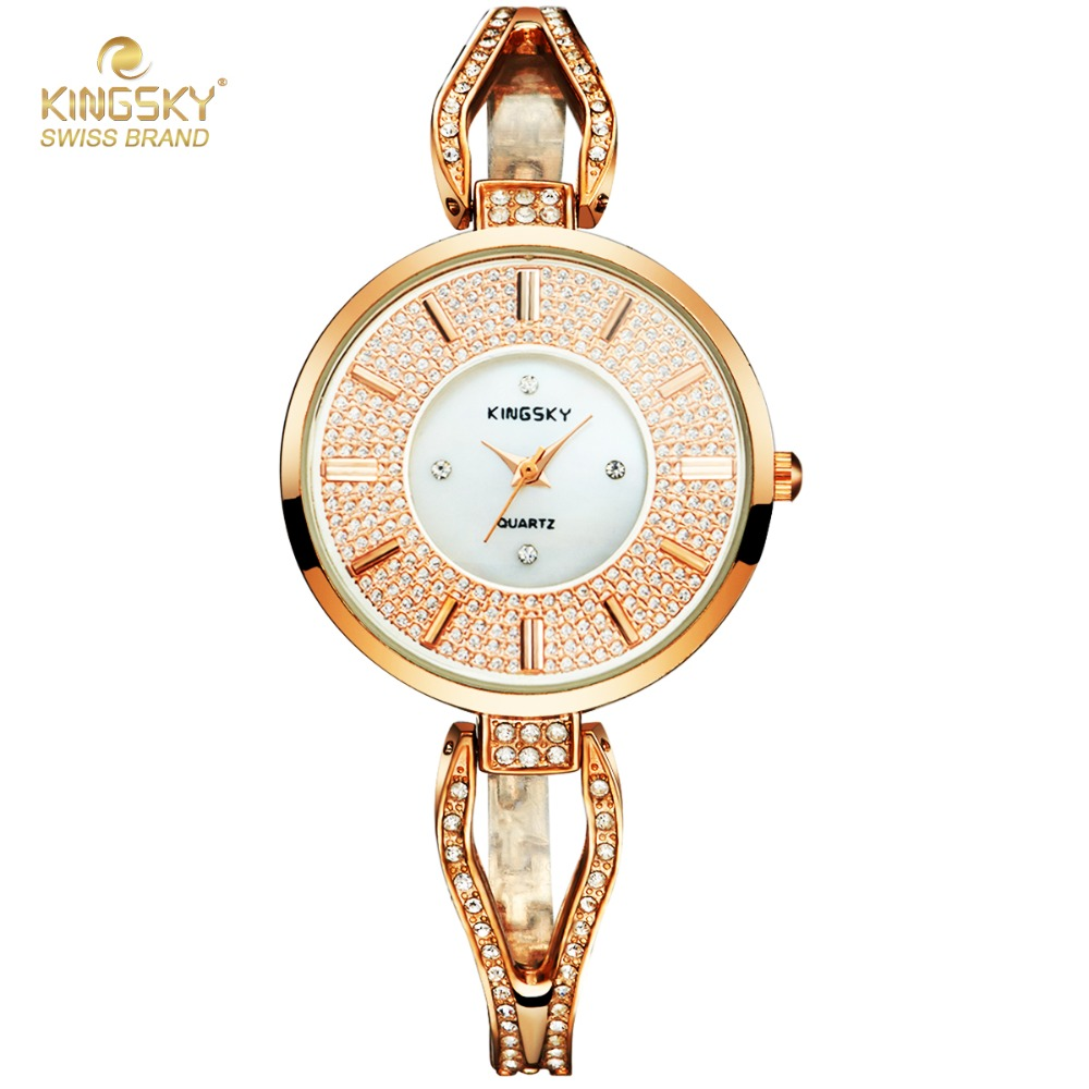 Kingsky Luxury Brand Rose Gold Watches For Women Female Clock Alloy Quartz Bracelet Watch Fashion Women Dress Watches Hodinky цена