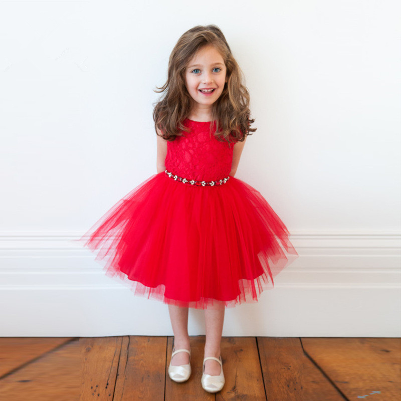 Baby Girls Dress Sweet Flower O-neck Collar Clothing Summer Sleeveless Red Color Clothes 2-6Y Kids Girl Birthday Party Dresses sweet sleeveless bowknot design pure color girl s dress