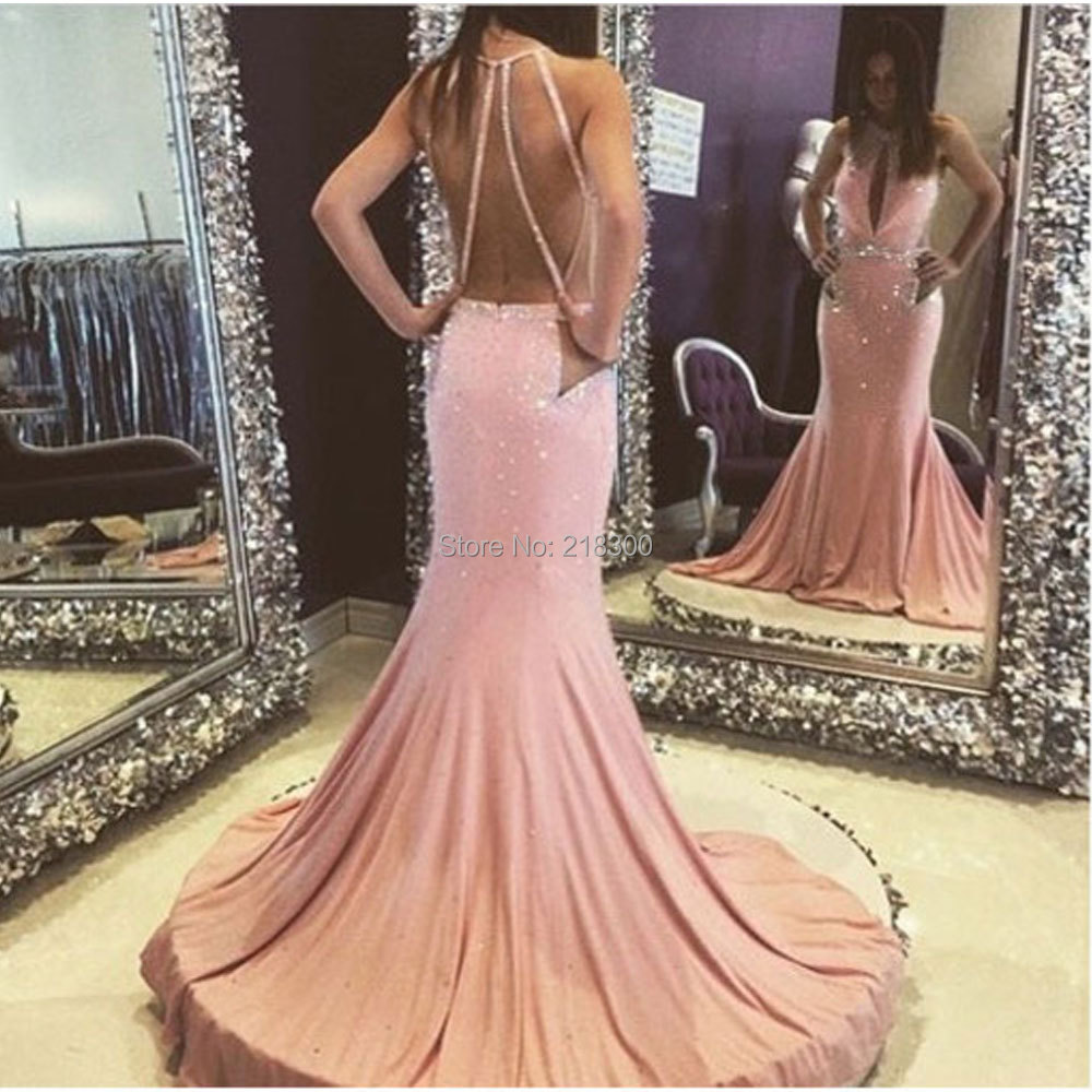 Rosa backless de la sirena vestidos de baile pageant formal vestido ...