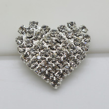 2017 Hot Sale of the Real Estate 10PC  Silver Heart Buckles Very Brilliant Bridal Jewelry Rhinestone Buttons Diamante Cryustal