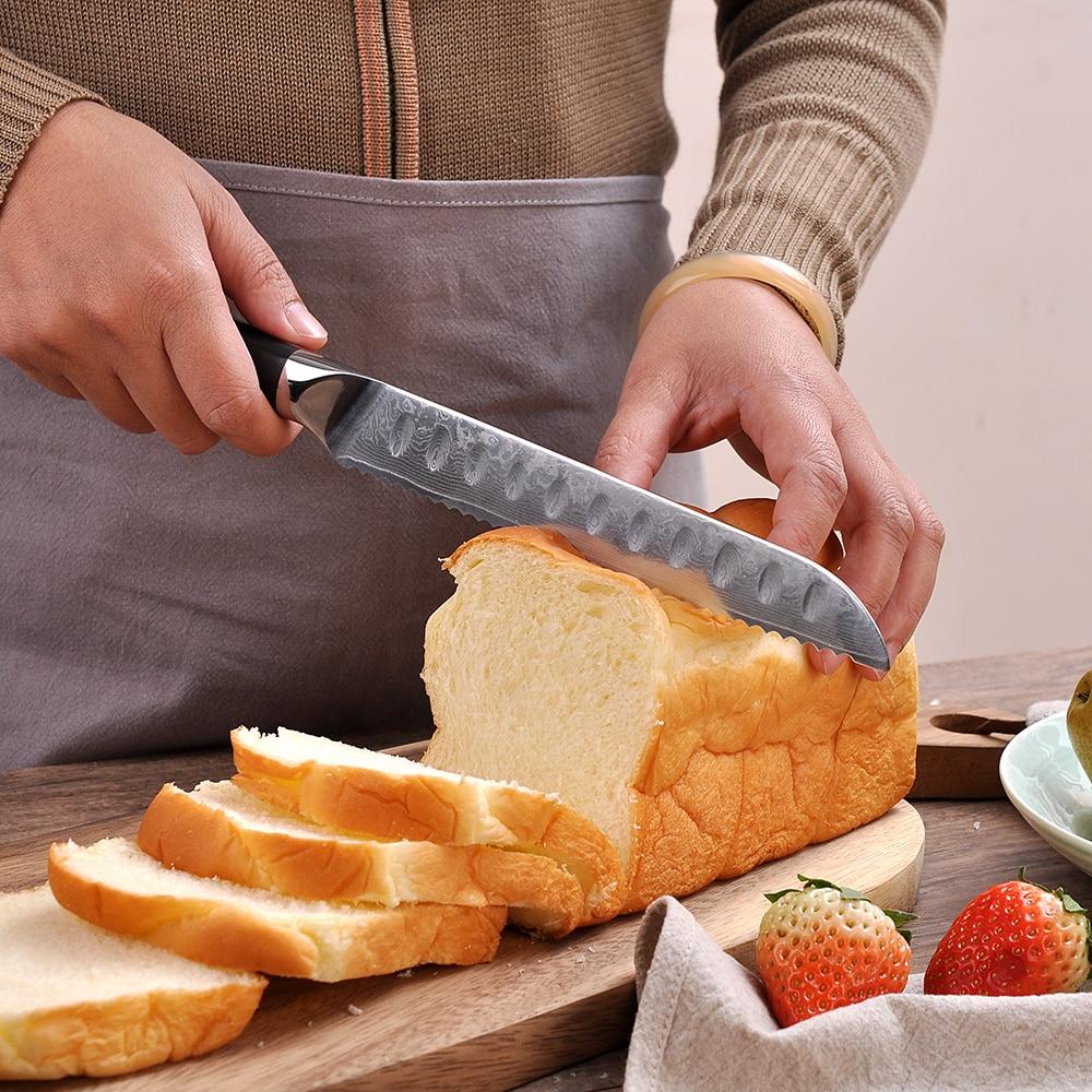"Sunnecko 8 ""มีดครัวสำหรับขนมปังญี่ปุ่น VG10 เหล็กใบมีดดามัสกัสมีดโกน Sharp เชฟมีดทำอาหาร g10 Handle-ใน มีดครัว จาก บ้านและสวน บน   2"