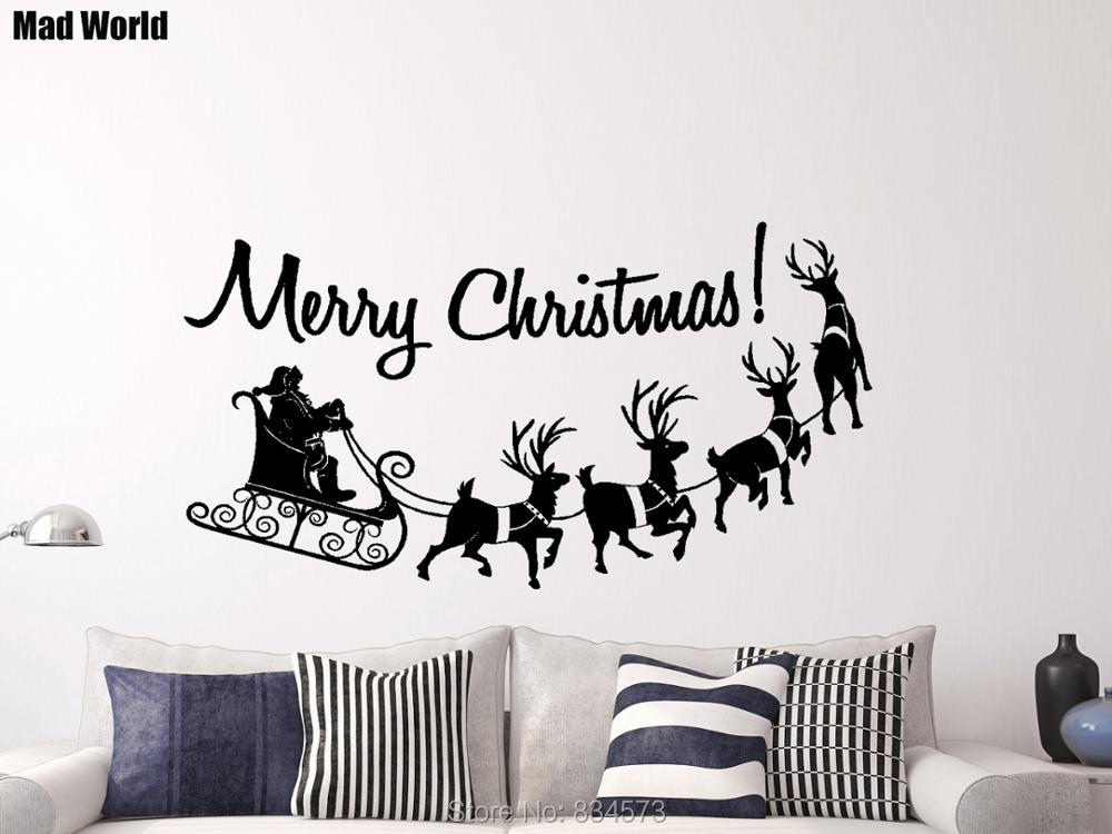 Merry Christmas Quote Wall Art Decal: Mad World Merry Christmas Silhouette Wall Art Stickers