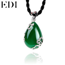 EDI Blue Gemstone Pendant Necklace for Women Hollow Flower 925 Sterling Silver Necklace Collier