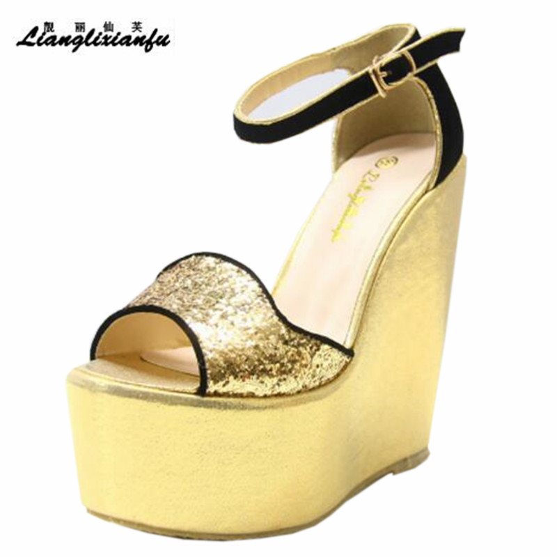 LLXF 15cm High-heeled Platform Shoes woman Stiletto female Sandals Open Toe Wedges Pumps Small Yards:30 31 32 33 34 Plus:42 43 sandals genuine leather new woman s shoes high heel 10cm platform 1cm female summer small yards small yards eur size 34 39 page 5