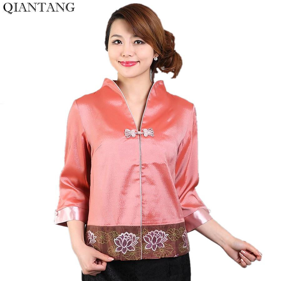 03284d7bd عالية الجودة الصيف بلوزة السيدات الحرير الخامس الرقبة قميص أعلى الكلاسيكية  الصين نمط الملابس موهير Camisa حجم SML XL XXL Mnz09B