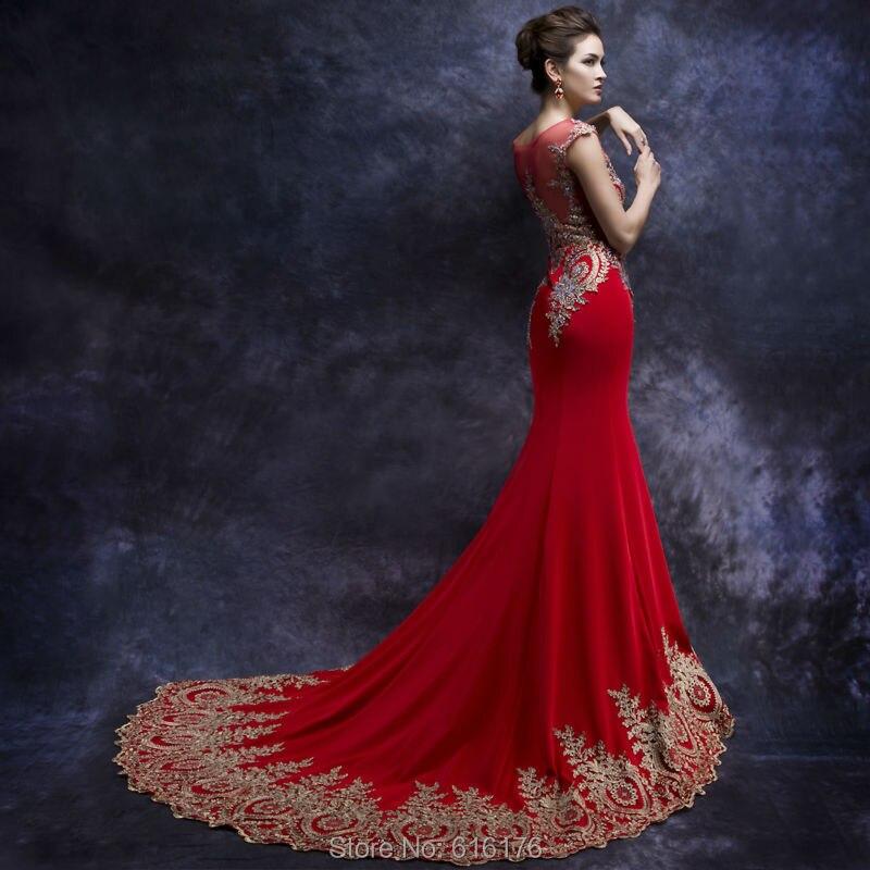 Aliexpress.com : Buy Amazing Red Mermaid Prom Dresses Sheer Neck ...