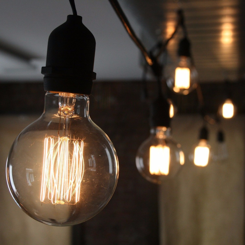 Retro Edison Bulb ST64 A19 T45 G80 G95 G125 Incandescent Light Bulb E27 220V 40W filament bulb lighting tubes Edison