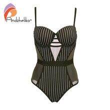 Andzhelika פס בגד ים מקשה אחת 2019 חדש סקסי רשת בגדי ים ללא משענת Bodysuits קיץ חוף בגד ים Monokini AK75140