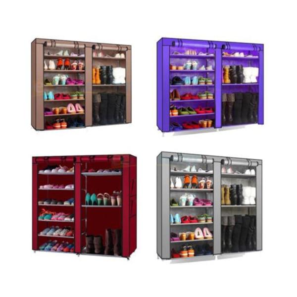 Double Row Shoe Boot Closet Rack Shelf Storage Organizer Cabinet Portable 9  Tiers Simple DIY Shoe