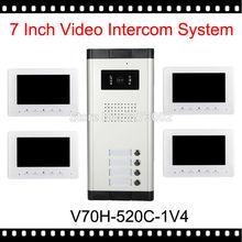 """V70H-520C-1V4 Nueva 7 """"vídeo Apartamento Teléfono De La Puerta de Intercomunicación Kit 4 Monitores 1 Cámara Al Aire Libre para 4 Familia Blanco + Sistema de Acceso"""