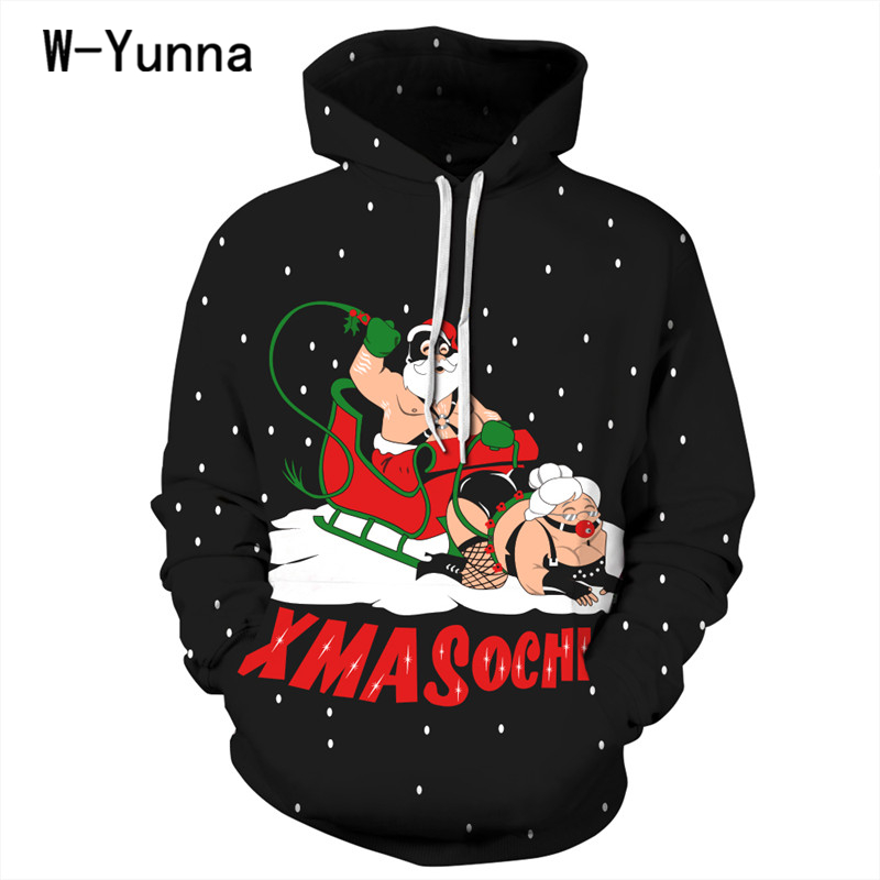 Newest Arrival Christmas Gift Hoodies Women/men Sexy Print Black Sweatshirt Loose Hooded Pullovers Femme Thin Hooded Tops
