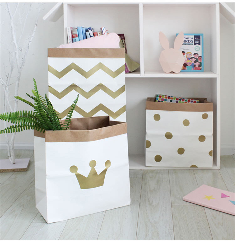 Convenient Heavy Kraft Paper Storage Bags Laundry Bag Toys Clothes Organizer Tool gold chevron crown dot