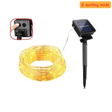 8 mode Solar String Lights 5m 12M 22M 200 LED Copper Wire Fairy Waterproof Power Lamp For Christmas Holiday Outdoor Decora
