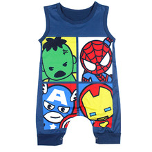 Newborn Boy Clothes Supperhero Tiny Cotton Baby Romper Jumpsuit Blue Sleeveless Rompers Halloween Baby Onesie Playsuit Costume(China)