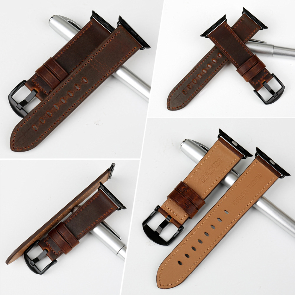 Image 3 - MAIKES Watch Accessories Genuine Leather Dark Brown iwatch Strap 44mm 40mm For Apple Watch Band 42mm 38mm Series 4   1 Bracelets-in Watchbands from Watches