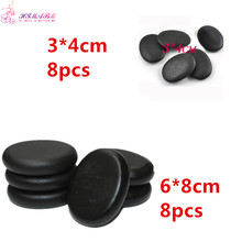 1 pack=8 pcs 6*8cm and 8 3*4cm  Natrual hot spa black basalt stone massage energy stones rocks
