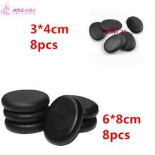 1 pack=8 pcs 6*8cm and 8 pcs 3*4cm  Natrual hot spa black  basalt stone massage basalt energy stones rocks недорго, оригинальная цена