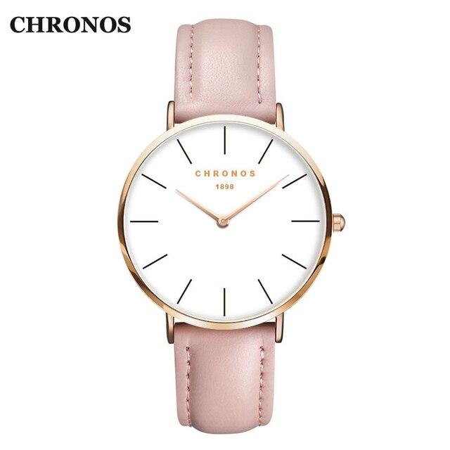 CHRONOS Unisex Watches Fashion Quartz Wristwatch Leather Strap Watches Men Women