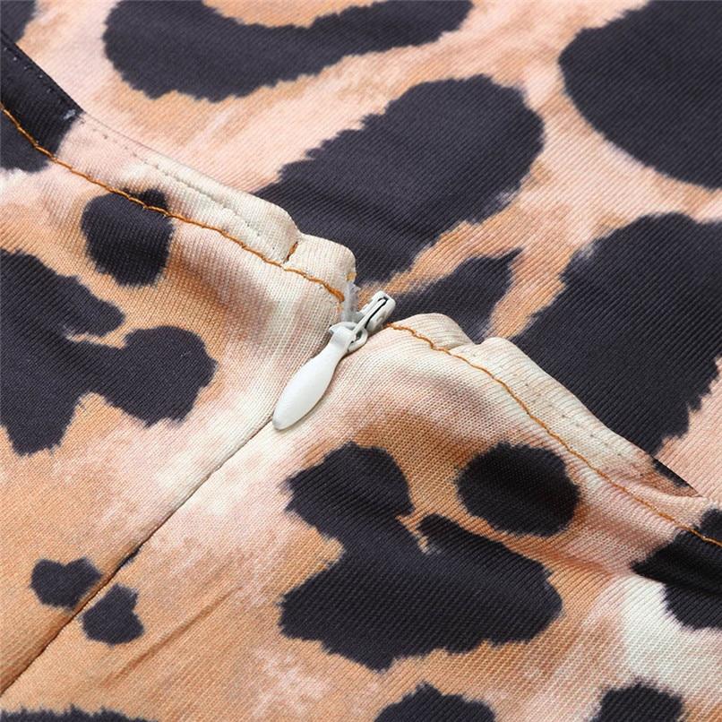 Leopard Dress Print 2018 Women Sexy Half Sleeve Midi Swing Dresses Lady Bodycon Party Club Hot Evening Vestdos #F#40OC163