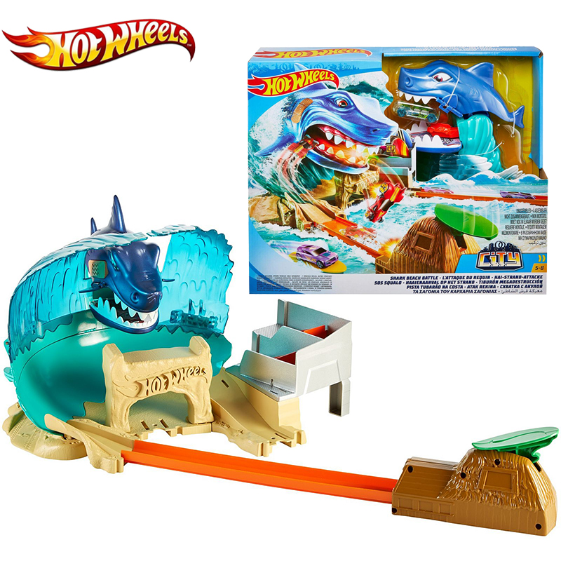 Original Hot Wheels Track City Shark Beach Battle Toys Play Set Connect With Accessory Hotwheels Metal For Birthday Gift FNB21