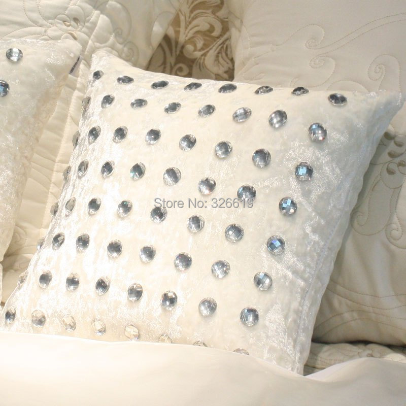Free shipping Luxury fashion pillow cover cushion set decoration cushion sets small crystal full rhinestone cushion cover