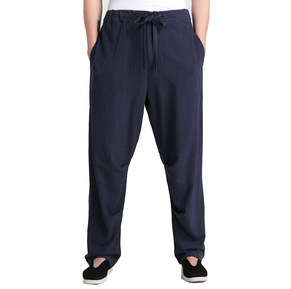 G-LIKE Men Spring Pure Color Cotton Linen Pocket Trousers Martial Arts Formal Breathable Pants