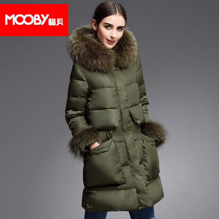 2015 new Hot winter Thicken Warm Woman Down jacket Coat Parkas Outerwear Hooded Raccoon Fur collar Mid long plus size XL Loose 2016 new hot winter thicken warm woman down jacket coat parkas outerwear hooded raccoon fur collar long plus size straight cold