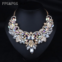 2015 Luxury Brand New Design Inspired AB Shine Crystal Flower Necklace Gold Chain Choker Statement Necklaces
