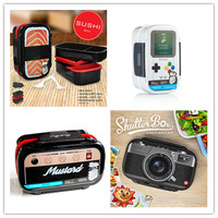 Plastic Double Layer Lunch Boxs Sushi Bento Box Microwavable LunchBox Set Office School Gamebox Camera Radio Salmon