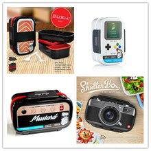 Kunststoff Doppelschicht Mittagessen Boxs Sushi Bento Box Mikrowellen LunchBox Set Büro Schule Gamebox Kamera Radio Lachs