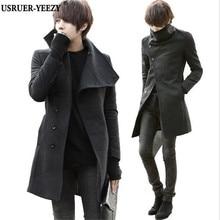 USRUER-YEEZY Продвижение Осень Зима Корейский Большой Лацкане Пальто 2017 мужская Твердые Шерстяные Траншеи Мужской Длинные Slim Fit Куртки Outercoats