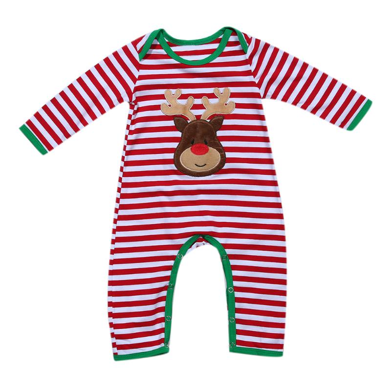 Newborn Infant Baby Girls Boys Striped Long Sleeve Romper Christmas Costume Toddler Kids Clothing
