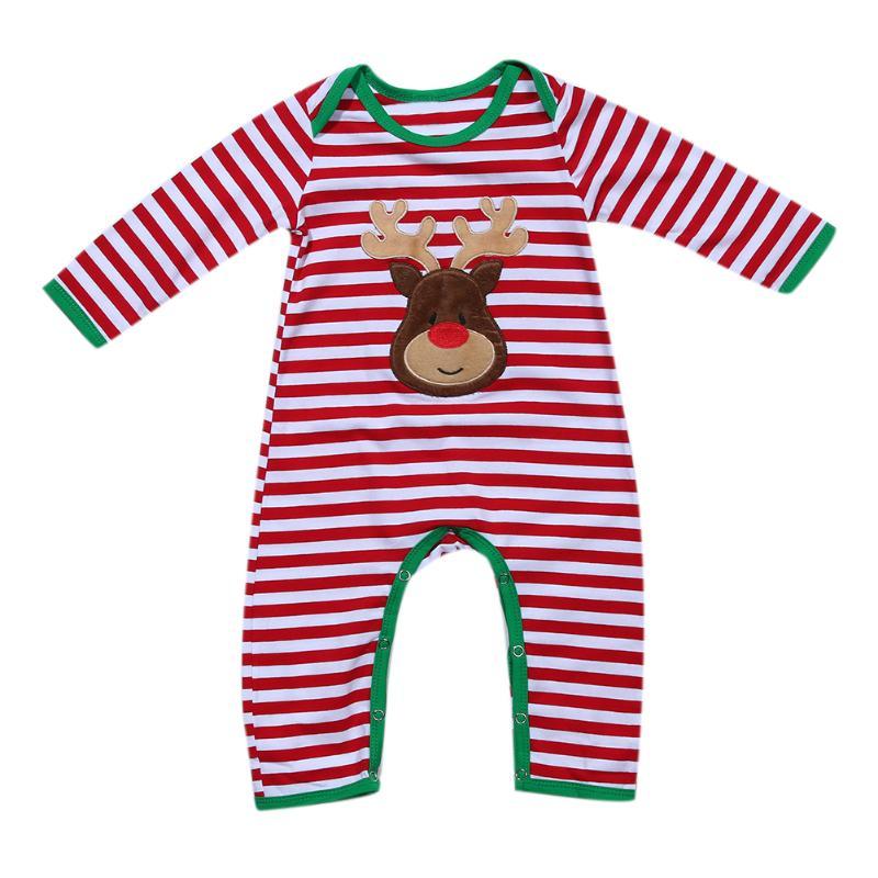 Newborn Infant Baby Girls Boys Striped Long Sleeve Romper Christmas Costume Toddler Kids Clothing