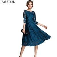 2017 New Fashion Autumn Dress Elegant Women Half Sleeve O Neck Hollow Out Lace Dress Vintage