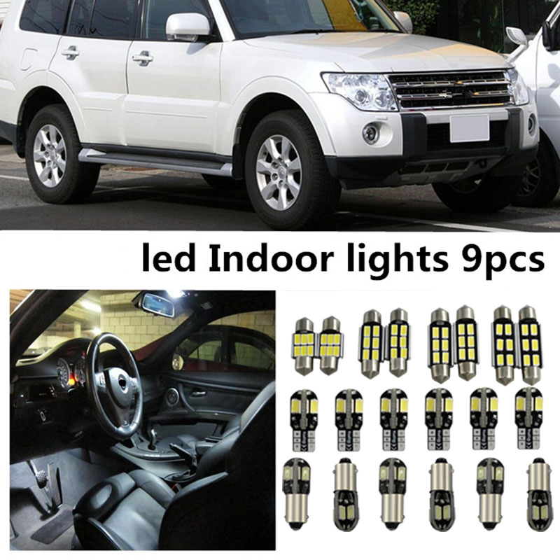 Tcart 9 x Error Free White Interior LED Light Package Kit For Mitsubishi pajero 2007-2014 accessories reading door lights 10pcs error free xenon white premium full interior led map light kit for opel astra h gtc opc caravan with installation tools