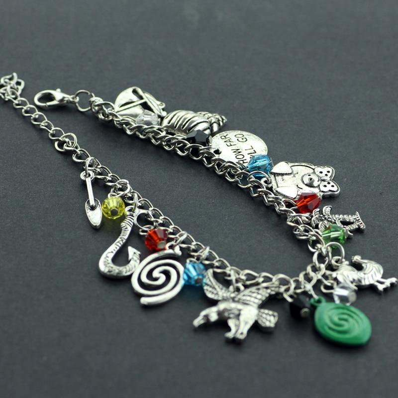 Movie Moana Charm Bracelets Round Letter HOW FAR ILL GO Maui Fish Hook Silver Plated Bracelets and Bangles