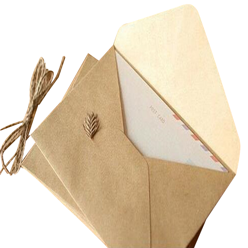 50pieces Rough grain gift card DIY Multifunction  Kraft  paper envelope  16*11cm Gift card envelopes for wedding birthday party 1