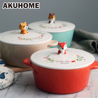 Ceramic Lovely Children S Double Grip Noodles Bowl Cover Sets Simple Creative Soup Bowl Korean Style