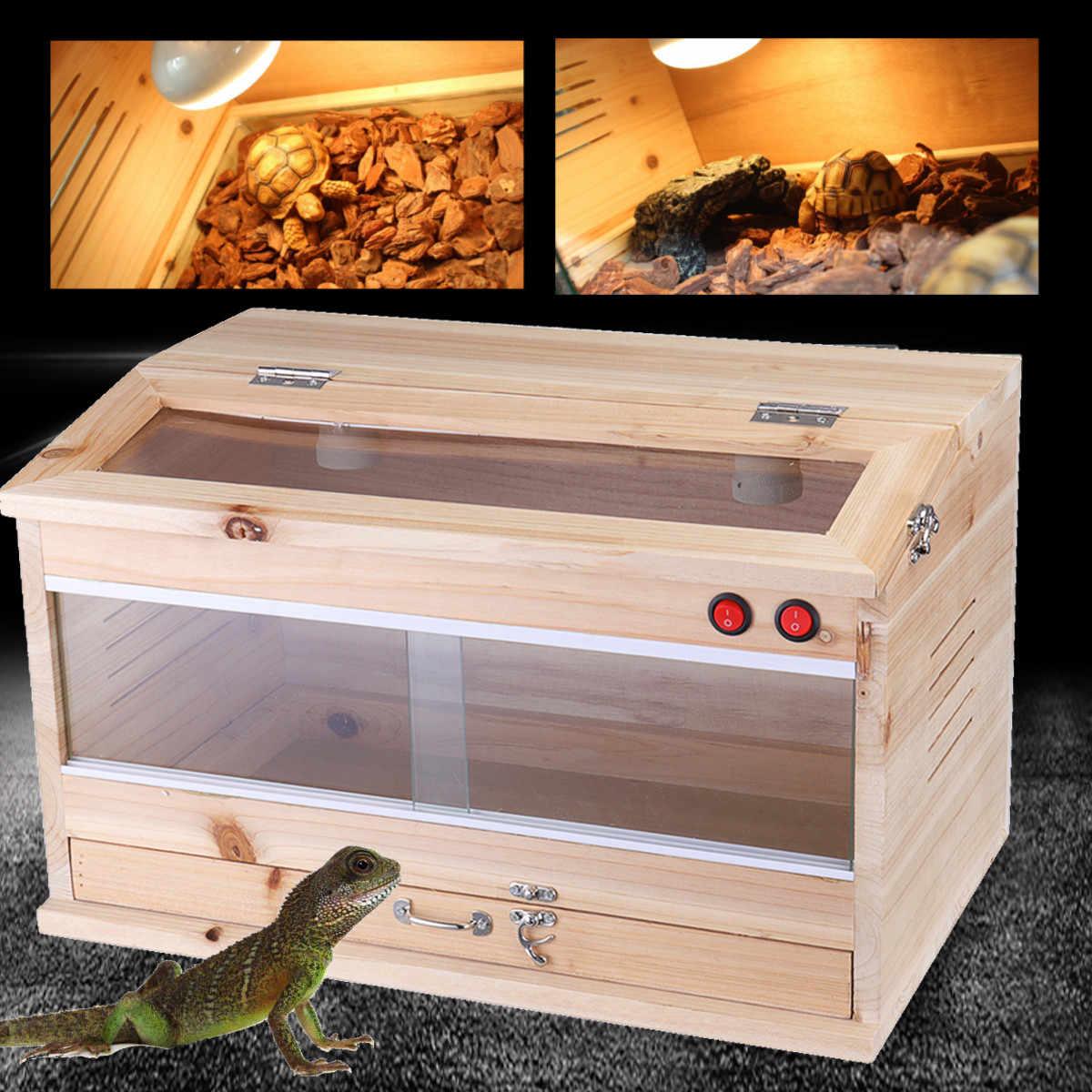 ไม้สัตว์เลื้อยคลาน Terrariums Enclosure ความร้อนกรงจิ้งจกกบงูเต่าถังล็อคเพาะเลี้ยงสัตว์เลื้อยคลานอุปกรณ์