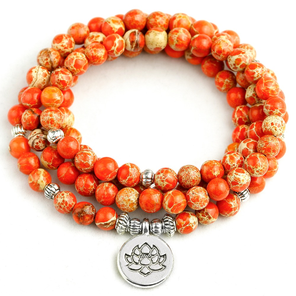 Bracelet for Women Orange Sea Sediment Stone 108 Mala Necklace 6MM Beads Buddha Yoga Bracelet Women Men New 2019 Boho