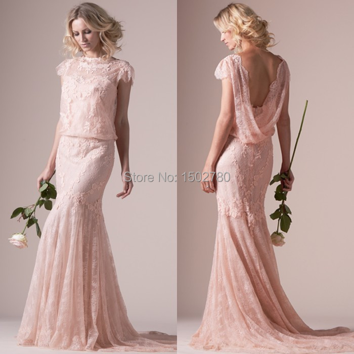Cowl Neck Back Wedding Dresses: Romantic Pale Pink Wedding Dress Cowl Back High Neck Cap