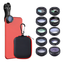 Cheap price APEXEL 10in1 camera Lens in mobile phone lens Kit Fisheye wide macro telescope Lens for iphone 8 X samsung galaxy android phones