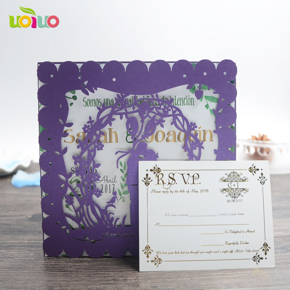 10Pcs Sample Laser Cut Purple Couple Wedding Invitation
