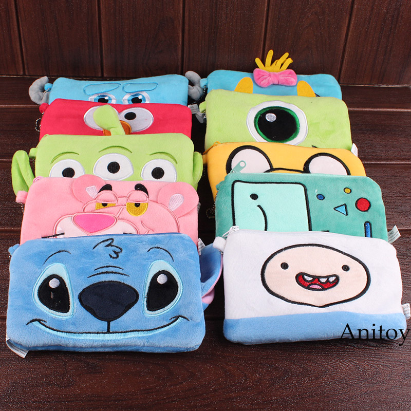 Stitch Pink Panther Sesame Street Elmo Luna Sailor Moon Monsters Inc Alien Kids Cartoon Plush Bag Phone Bag Soft Stuffed Toys