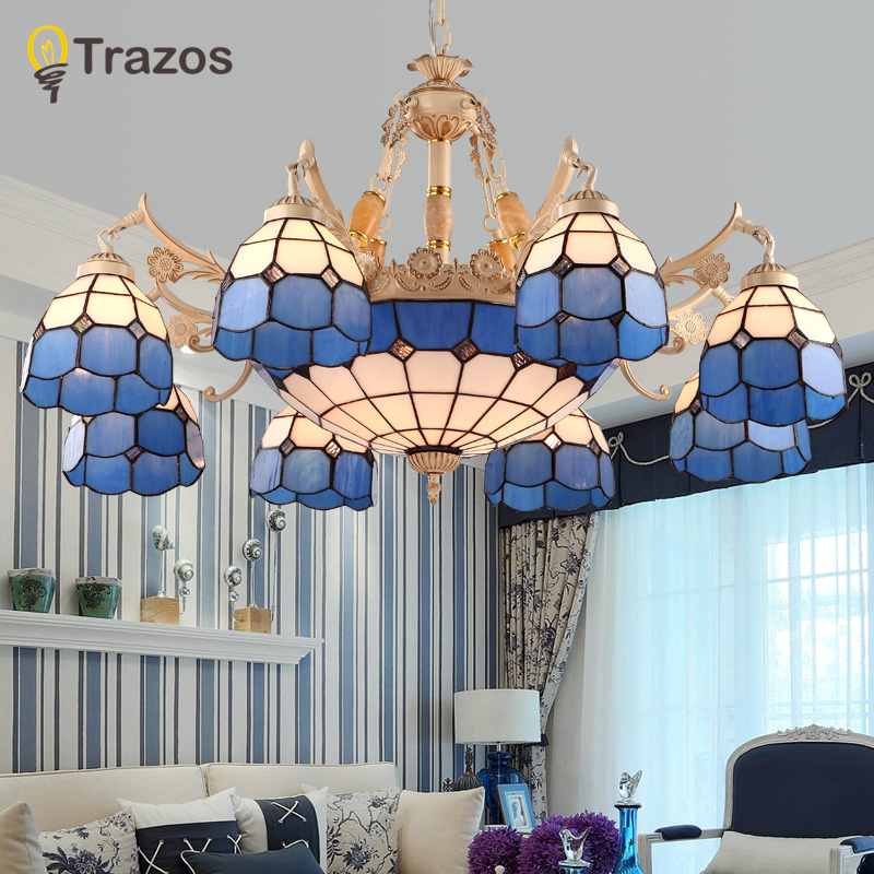 Cottage four E27 bulb iron Chandeliers living room Blue shade led lamps modern Chandelier lighting led lustre lighting lampsCottage four E27 bulb iron Chandeliers living room Blue shade led lamps modern Chandelier lighting led lustre lighting lamps
