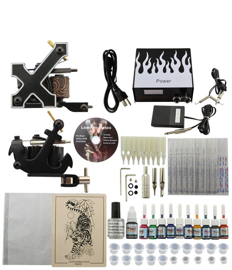 Professional Tattoo Kit 2 Guns Machines 10 Ink Sets Power Supply professional tattoo kits liner and shader machines immortal ink needles sets power supply